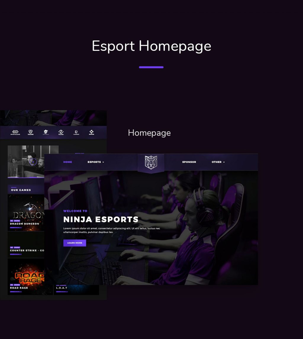 eSport-01-Homepage Esportize | eSports Elementor Template Kit theme WordPress